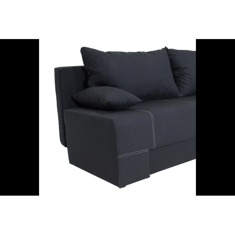 "Kαναπές-κρεβάτι ""SUNNY"" τριθέσιος υφασμάτινος σε μαύρο χρώμα 195x82x84"