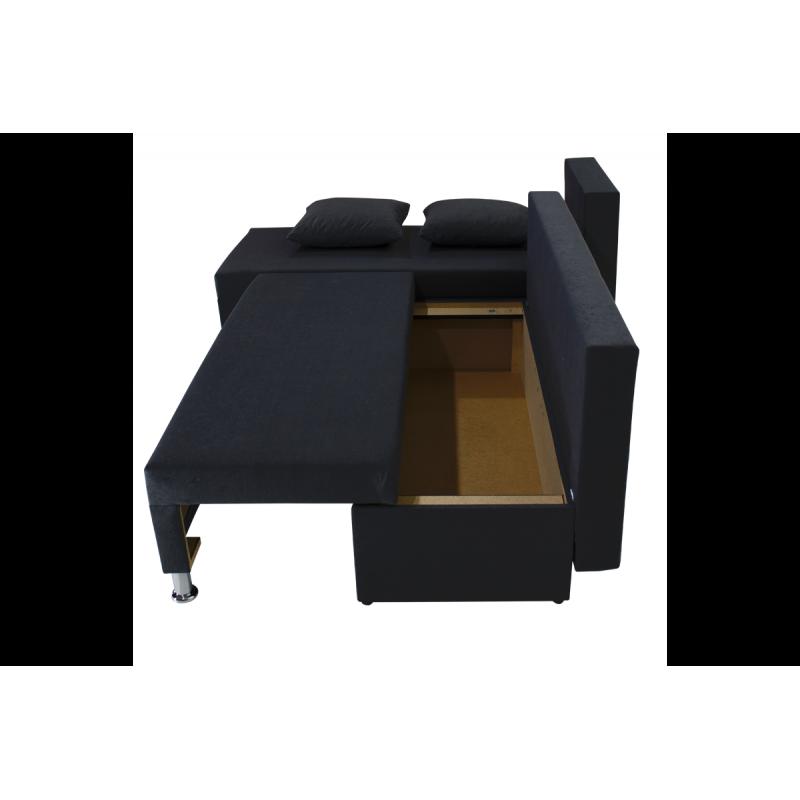 """Γωνιακός καναπές-κρεβάτι """"TANYA"""" αναστρέψιμος υφασμάτινος σε μαύρο χρώμα 196x70/150x78"""