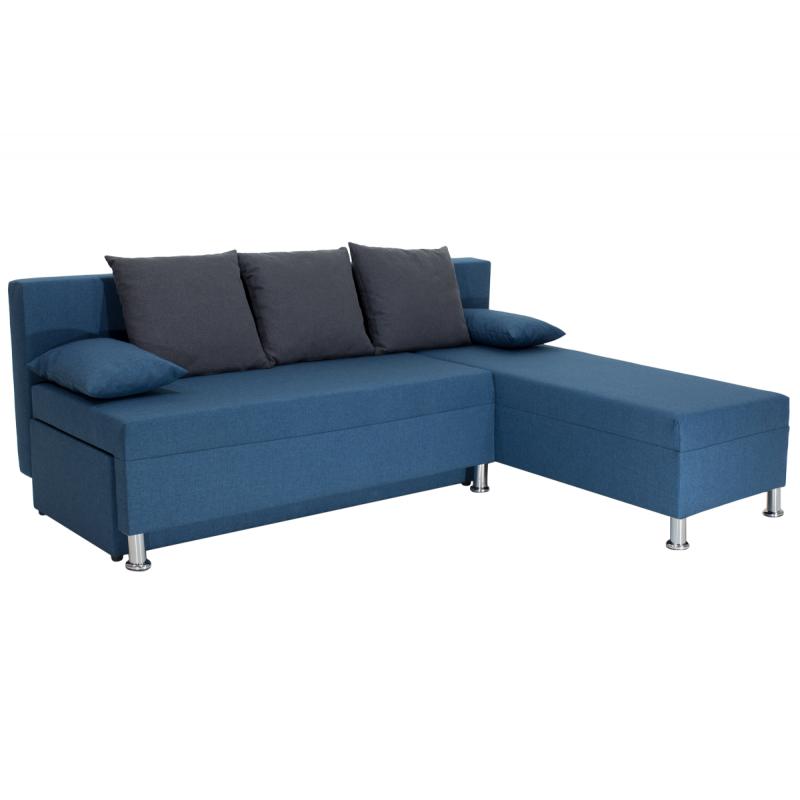 """Γωνιακός καναπές-κρεβάτι """"TANYA"""" αναστρέψιμος υφασμάτινος σε χρώμα πετρόλ 196x70/150x78"""