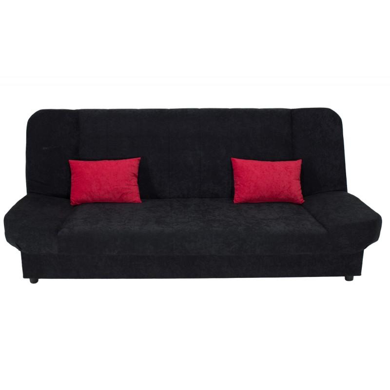 "Kαναπές-κρεβάτι ""TIKO"" τριθέσιος υφασμάτινος σε μαύρο χρώμα 198x85x90"