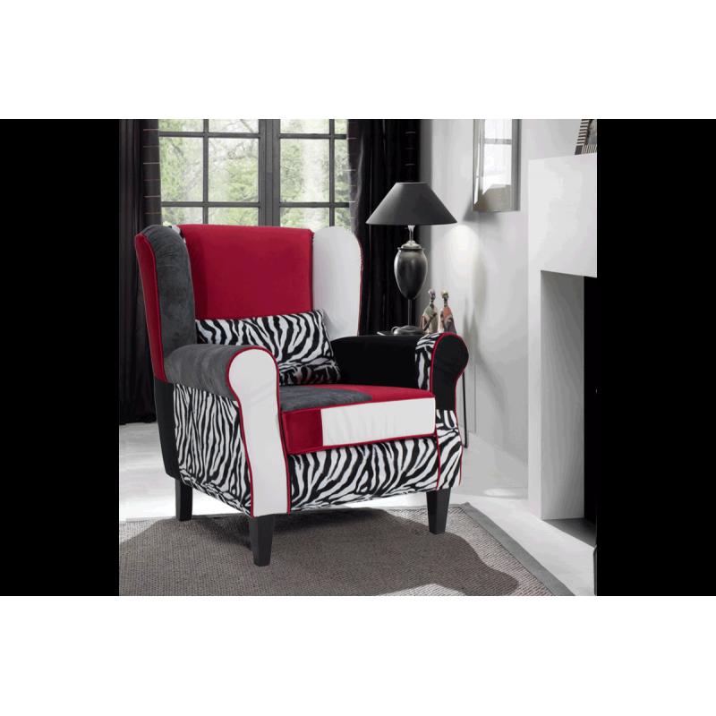 """Πολυθρόνα-μπερζέρα """"RAINBOW ZEBRA"""" με πολύχρωμο ύφασμα 83x86x99"""