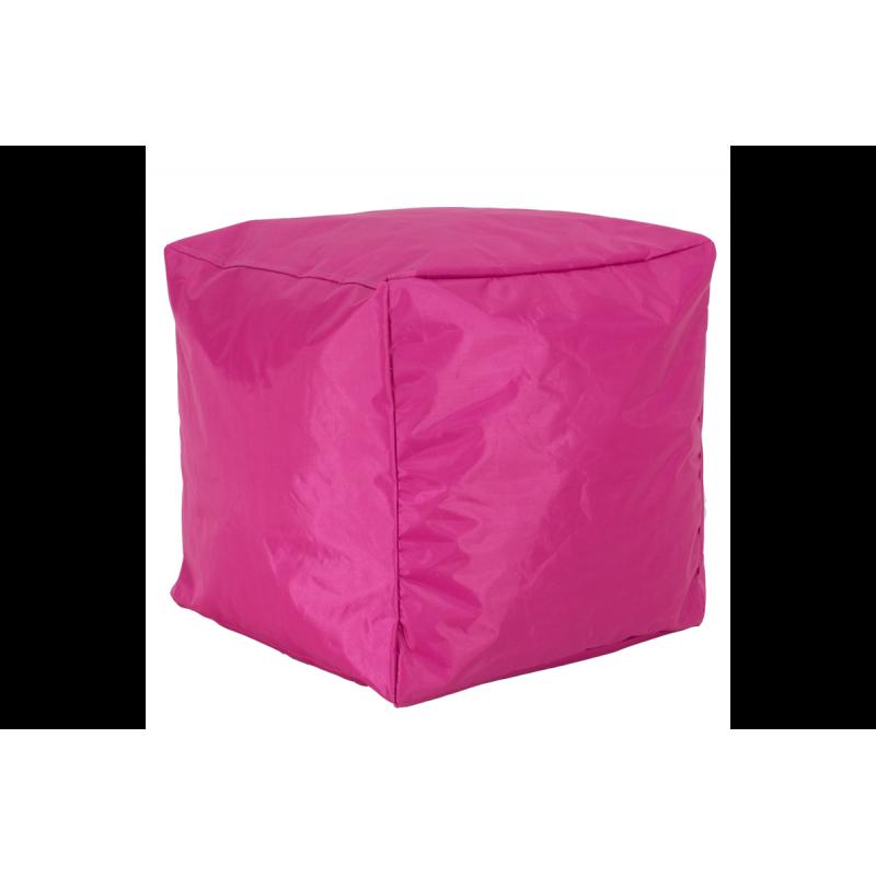 """Πουφ σκαμπώ """"CUBE"""" υφασμάτινο σε χρώμα φούξια-ροζ 45x45x43"""