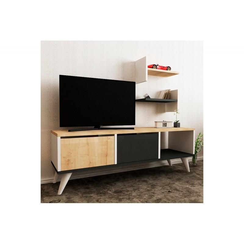 """Έπιπλο τηλεόρασης """"FOXY"""" σε χρώμα λευκό-δρυς-ανθρακί 120x30x40"""