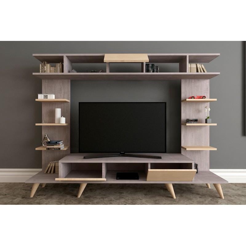"""Σύνθεση σαλονιού """"PΑΝ TV"""" σε χρώμα σταχτί-φυσικό 180x35x135"""