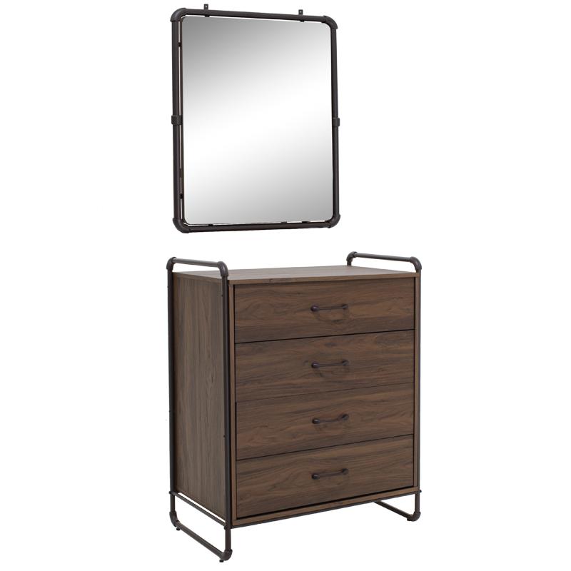 """Συρταριέρα """"TUBE"""" με καθρέπτη σε χρώμα σκούρο καρυδί 83x50x103"""