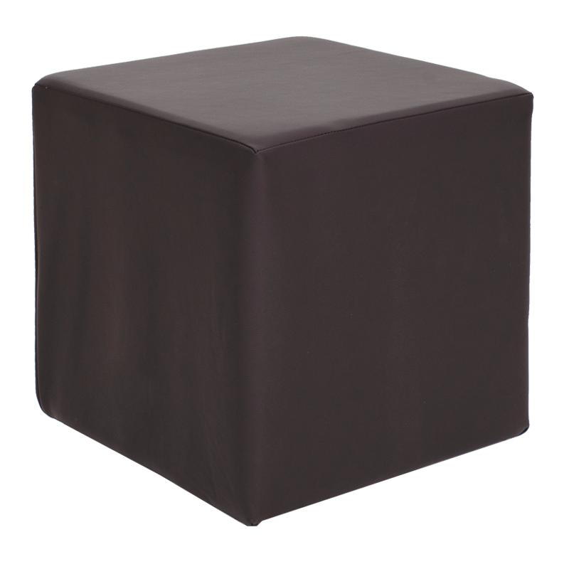 """Σκαμπώ βοηθητικό """"CUBE"""" από τεχνόδερμα σε χρώμα καφέ 40x40x40"""