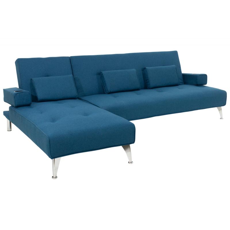 """Γωνιακός καναπές-κρεβάτι """"LUXURY"""" υφασμάτινος σε μπλε χρώμα 258x156x84"""