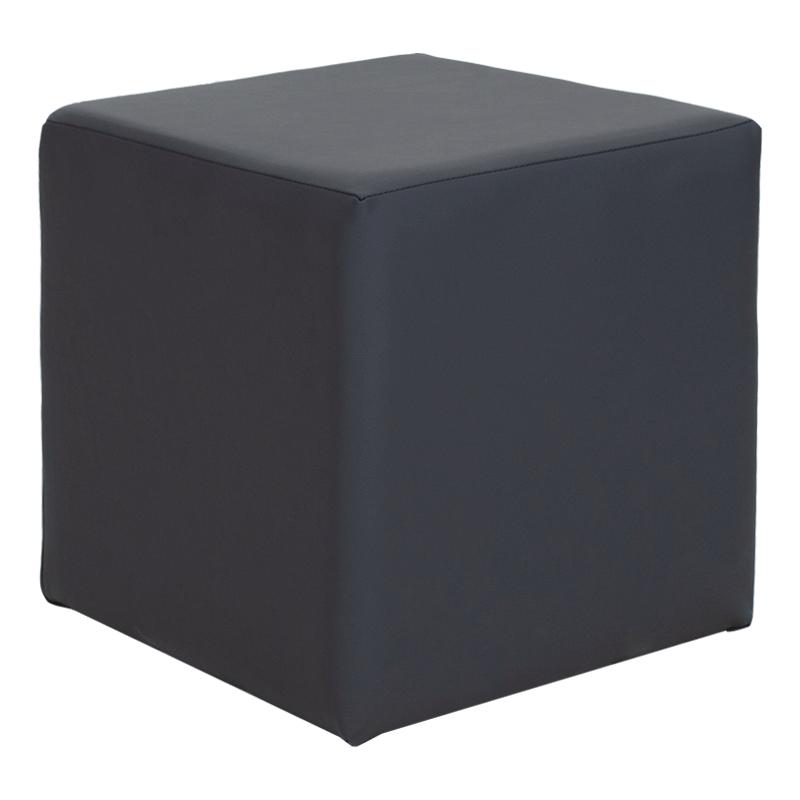 """Σκαμπώ βοηθητικό """"CUBE"""" από τεχνόδερμα σε χρώμα ανθρακί 40x40x40"""