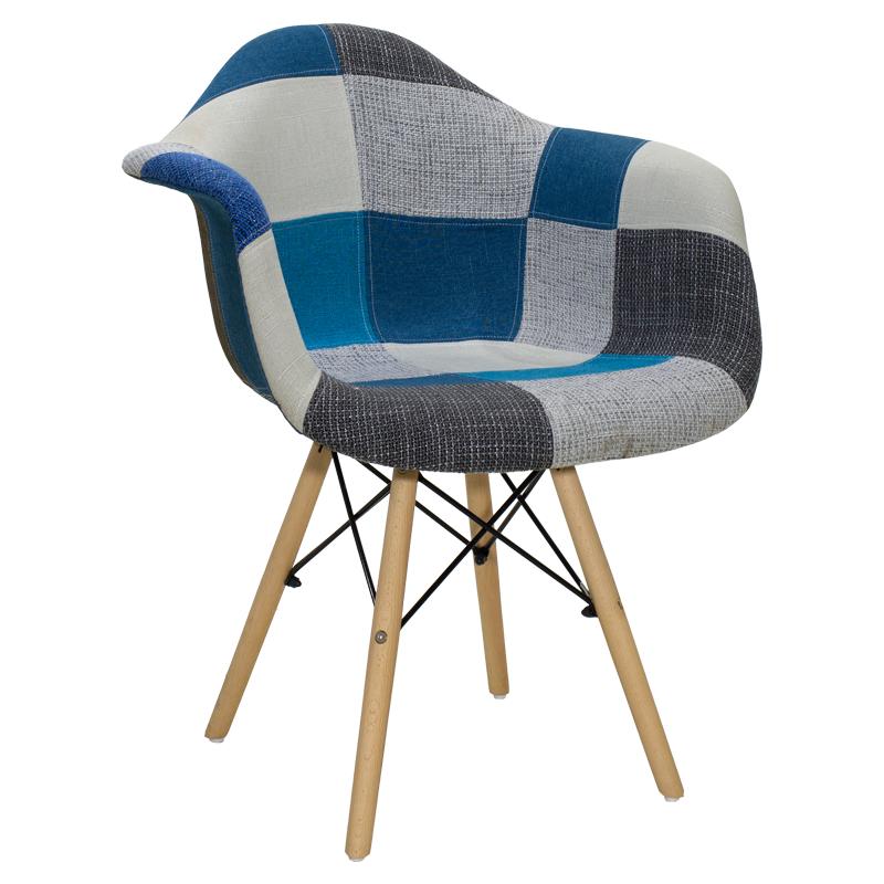 """Πολυθρόνα """"JULITA"""" με ύφασμα patchwork σε χρώμα μπλε 62x62x80"""