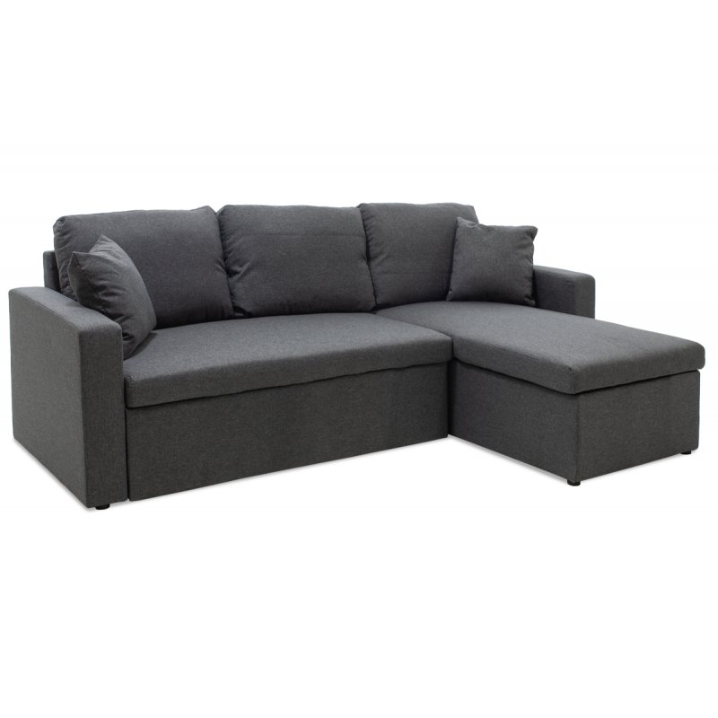 """Γωνιακός καναπές-κρεβάτι """"MARVEL"""" αναστρέψιμος υφασμάτινος σε ανθρακί  χρώμα 220x145x83"""