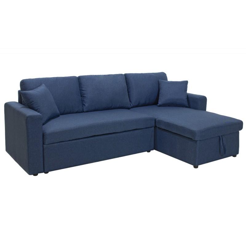 """Γωνιακός καναπές-κρεβάτι """"MARVEL"""" αναστρέψιμος υφασμάτινος σε μπλε χρώμα 220x145x83"""