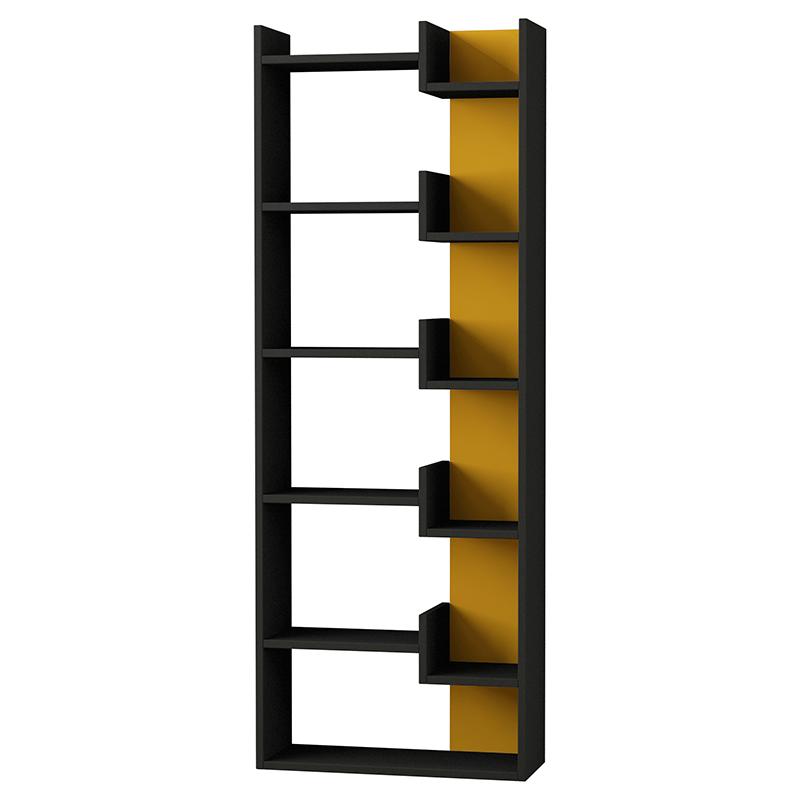 """Βιβλιοθήκη """"OPPA"""" σε χρώμα ανθρακί - μουσταρδί 61x22x162"""