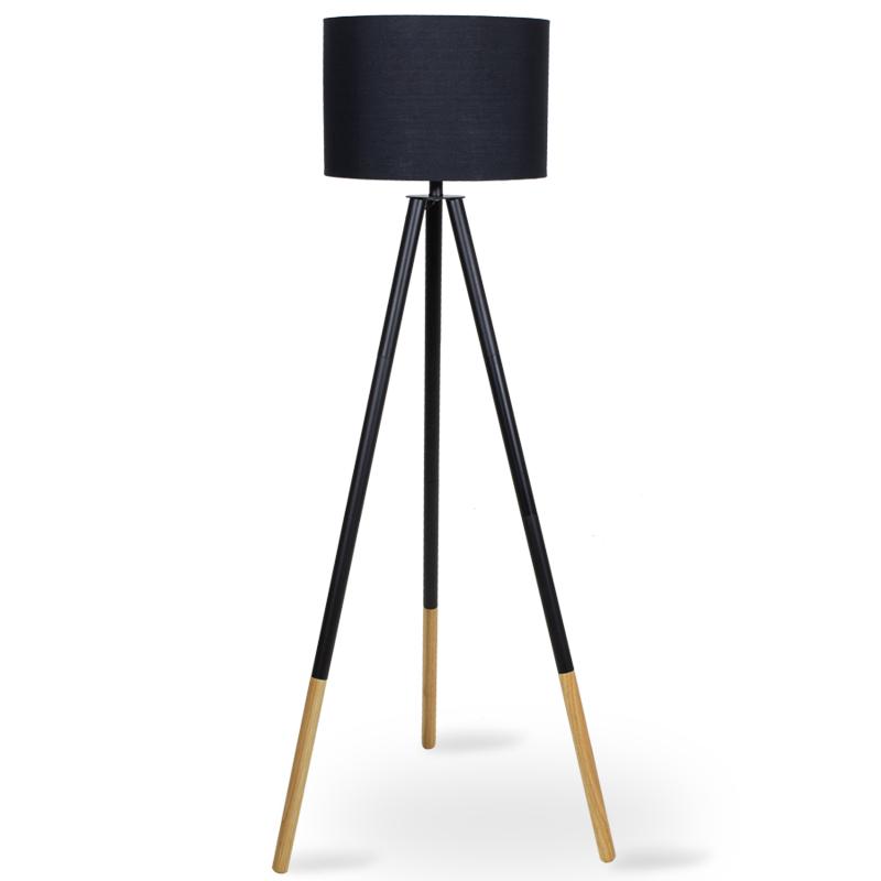 """Φωτιστικό δαπέδου """"PWL-0004"""" ξύλινα πόδια-μαύρο καπέλο Φ41x155"""