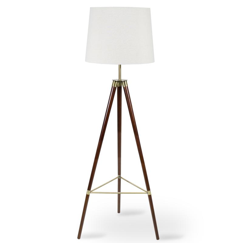"""Φωτιστικό δαπέδου """"PWL-0006"""" ξύλινα πόδια-μπεζ καπέλο Φ41-46x57x161"""