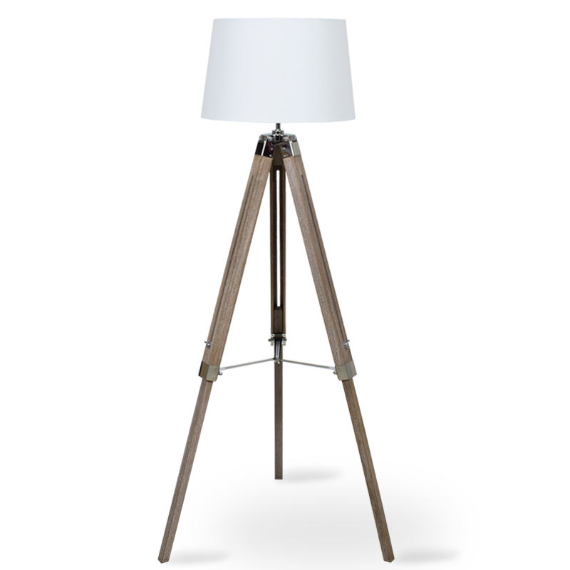 """Φωτιστικό δαπέδου """"PWL-0008 """" ξύλινα πόδια-λευκό καπέλο Φ34-41x65x145"""