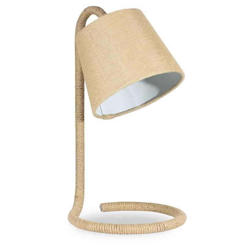 """Επιτραπέζιο μεταλλικό φωτιστικό """"PWL-0009"""" με σχοινί-καπέλο λινάτσας Φ25x43"""