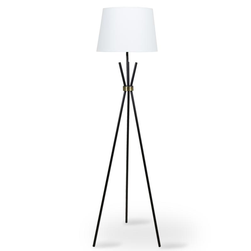 """Φωτιστικό δαπέδου μεταλλικό """"PWL-0003"""" μαύρο ματ με λευκό καπέλο Φ46x161"""