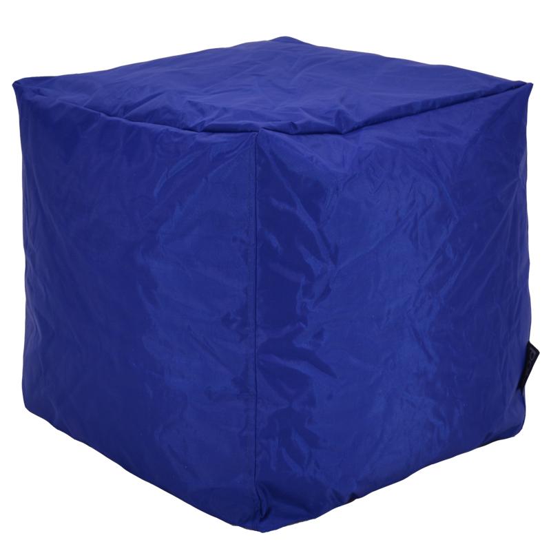 """Πουφ σκαμπώ """"CUBE"""" υφασμάτινο σε χρώμα μπλε 45x45x43"""