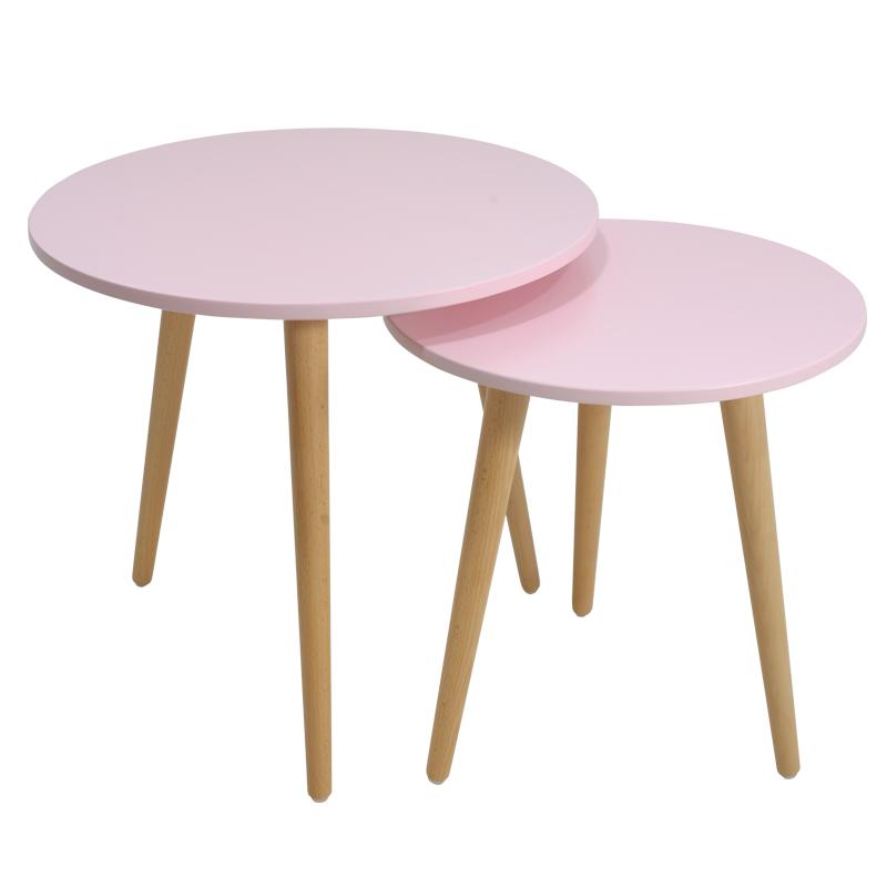 """Βοηθητικά τραπεζάκια """"SMITH"""" χρώματος ροζ-φυσικό 50/40x50/40x47/42"""