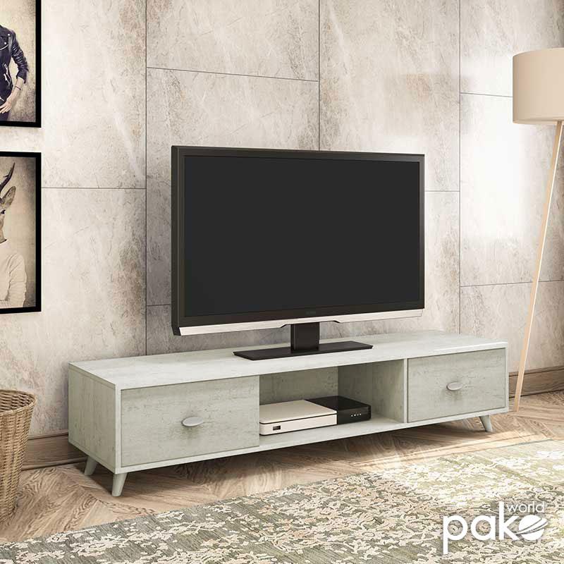 """Έπιπλο τηλεόρασης """"FIRENZE"""" σε χρώμα γκρι-λευκό 150,5x41x33"""