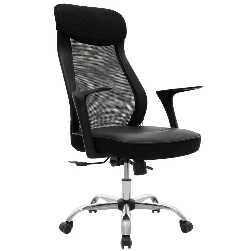 """Πολυθρόνα διευθυντή """"RUBIO"""" από τεχνόδερμα σε χρώμα μαύρο 62x53x105/133"""