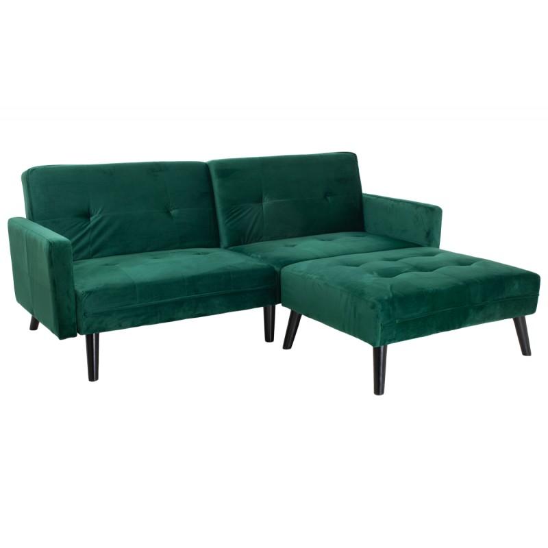 """Γωνιακός καναπές-κρεβάτι με σκαμπώ """"DREAM"""" σε χρώμα σκούρο πράσινο βελούδο ύφασμα 209x87-195x80"""