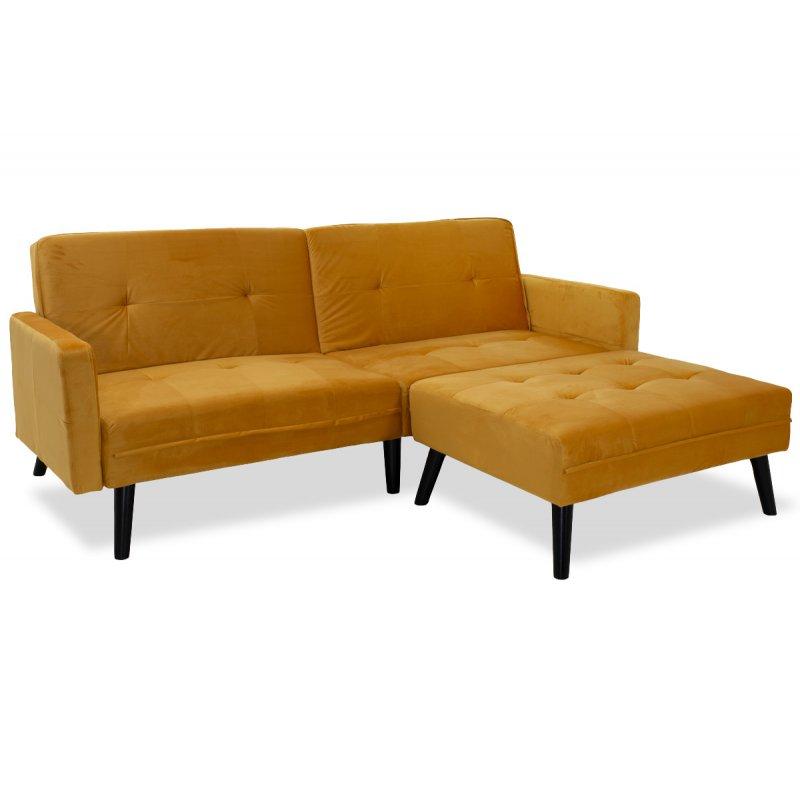 """Γωνιακός καναπές-κρεβάτι με σκαμπώ """"DREAM"""" σε χρώμα κίτρινο βελούδο ύφασμα 209x87-195x80"""