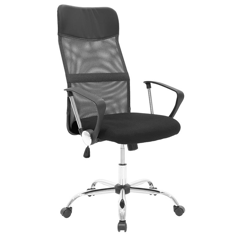 """Πολυθρόνα διευθυντή """"JOEL"""" από ύφασμα mesh σε χρώμα μαύρο-γκρι 64x63x110/120"""