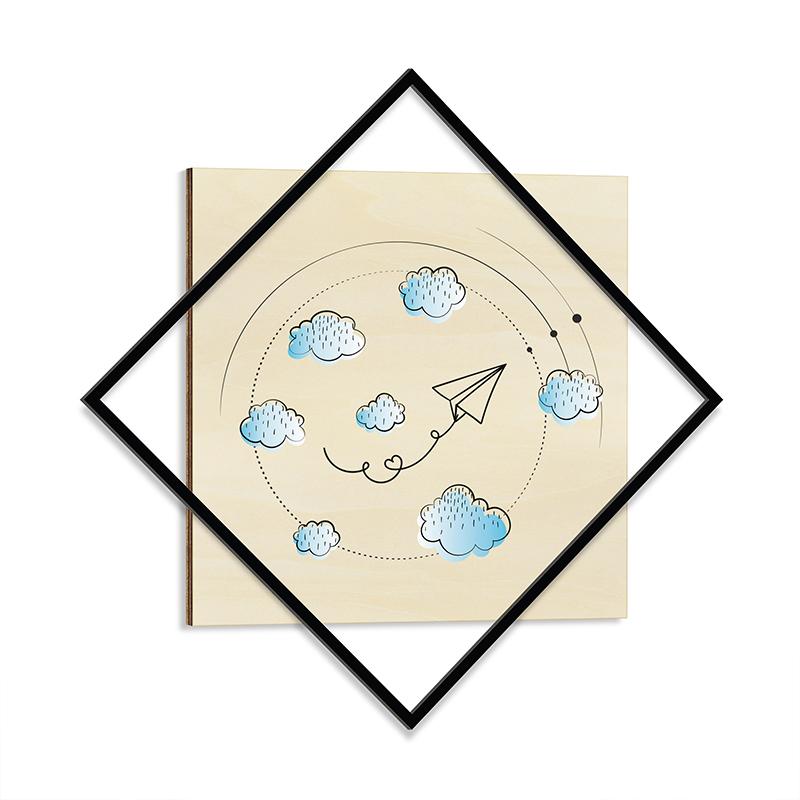 """Διακοσμητικός πίνακας """"CHILDHOOD"""" με μεταλλικό πλαίσιο 72x1,3x72"""