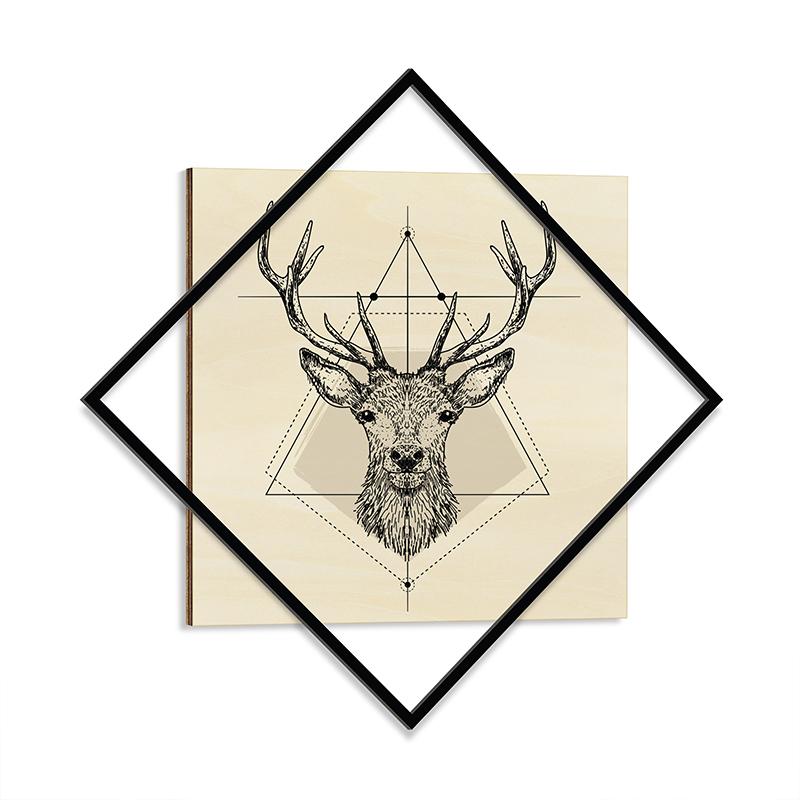"""Διακοσμητικός πίνακας """"STAY WILD"""" με μεταλλικό πλαίσιο 72x1,3x72"""