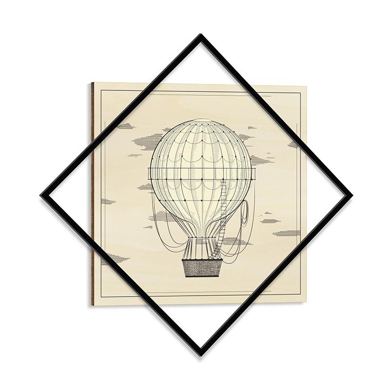 """Διακοσμητικός πίνακας """"UP TO SKY"""" με μεταλλικό πλαίσιο 72x1,3x72"""