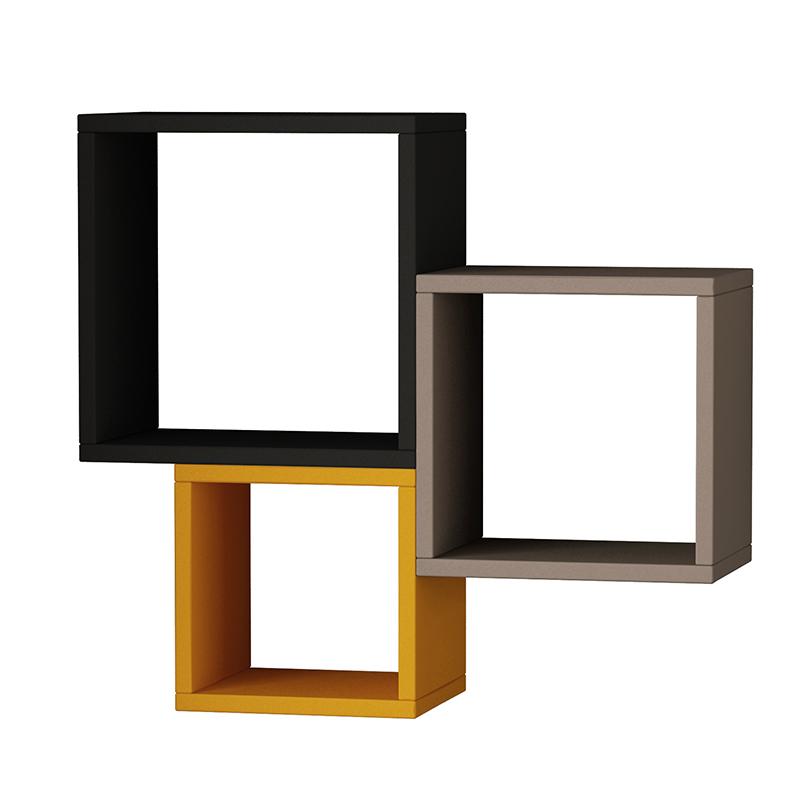 """Ραφιέρα τοίχου """"KUTUGEN"""" σε χρώμα ανθρακί-μόκα-μουσταρδί 65x20x60"""