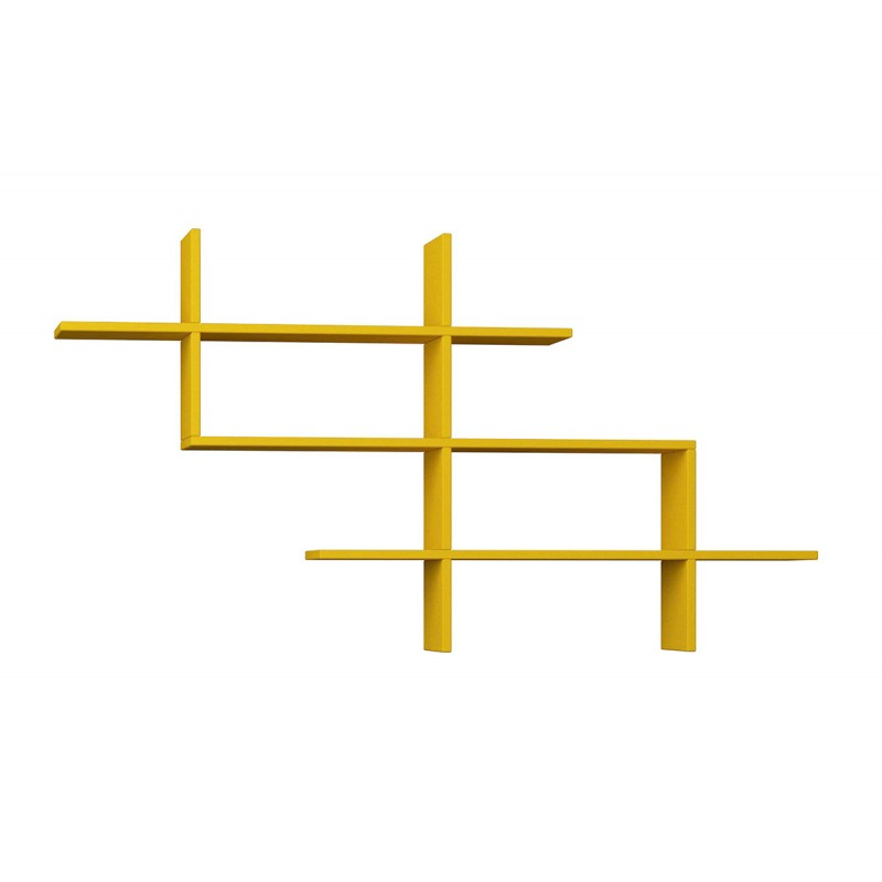"""Ραφιέρα τοίχου-βιβλιοθήκη """"HALIC"""" σε χρώμα μουσταρδί 150x22x82"""