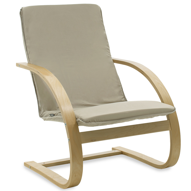 """Πολυθρόνα """"RENA"""" υφασμάτινη χρώμα γκρι καφέ-φυσικό 67x72x95"""