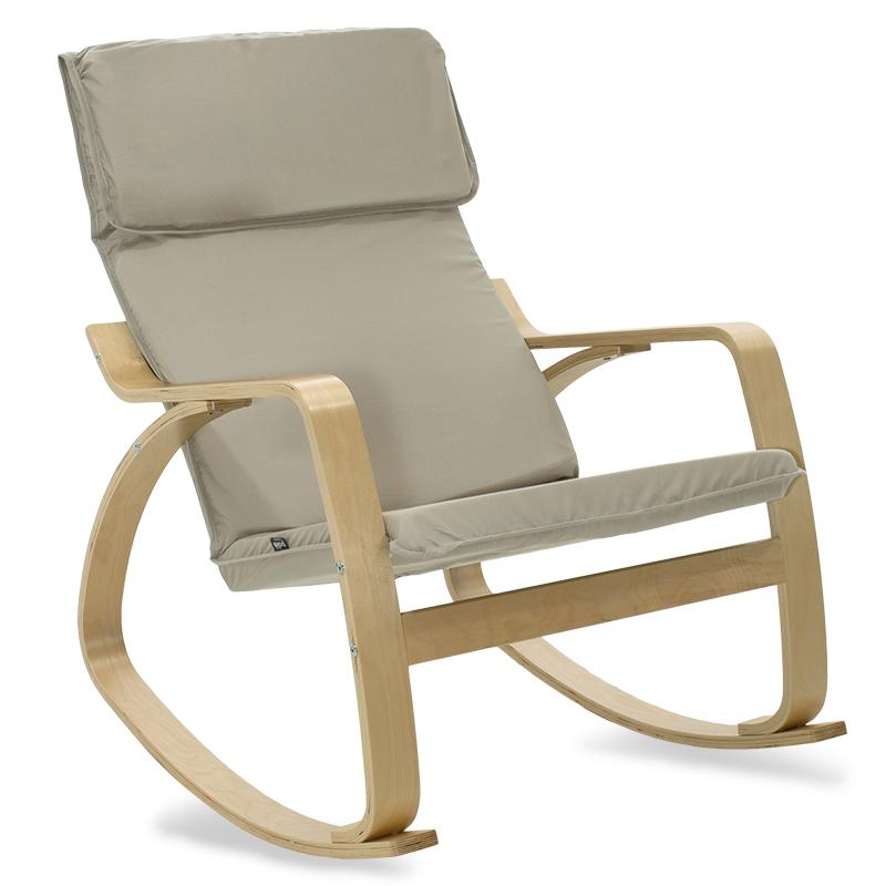 """Πολυθρόνα """"ZENIA"""" κουνιστή υφασμάτινη χρώμα γκρι καφέ-φυσικό 67x80x88"""