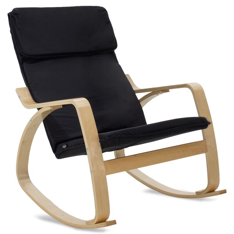 """Πολυθρόνα """"ZENIA"""" κουνιστή υφασμάτινη χρώμα μαύρο-φυσικό 67x80x88"""