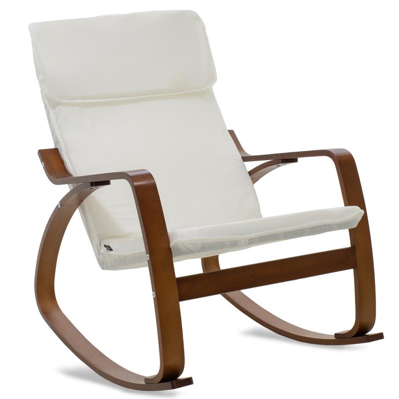 """Πολυθρόνα """"ZENIA"""" κουνιστή υφασμάτινη χρώμα λευκό-καρυδί 67x80x88"""