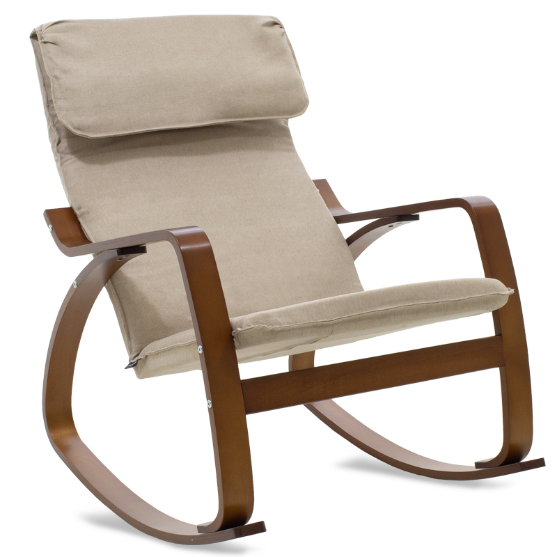 """Πολυθρόνα """"ZENIA"""" κουνιστή υφασμάτινη χρώμα μόκα-καρυδί 67x80x88"""