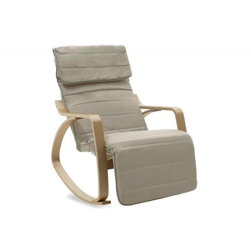 """Πολυθρόνα """"ELMA"""" κουνιστή υφασμάτινη χρώμα γκρι καφέ-φυσικό 66x95-117x96"""