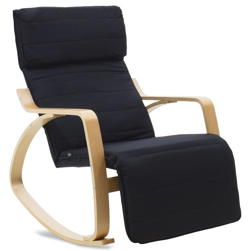 """Πολυθρόνα """"ELMA"""" κουνιστή υφασμάτινη χρώμα μαύρο-φυσικό 66x95-117x96"""