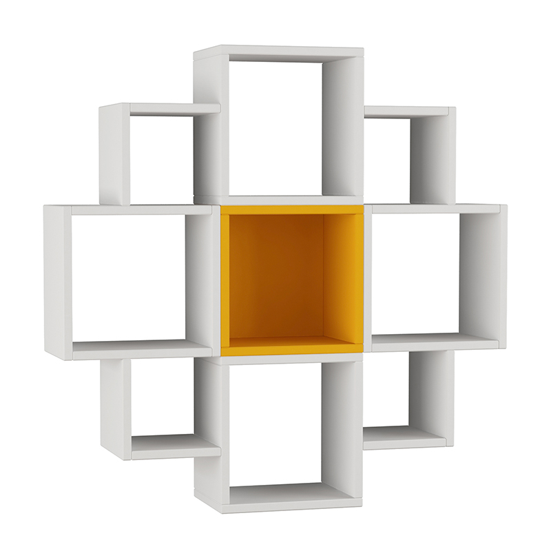 "Pαφιέρα τοίχου ""FIORE"" σε χρώμα λευκό - μουσταρδί 93,5x22x93,5"
