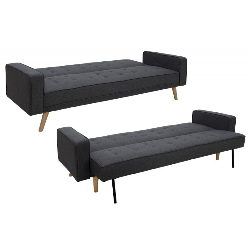 "Kαναπές-κρεβάτι ""LATINA"" με ύφασμα σε χρώμα γκρι 217x75x84"