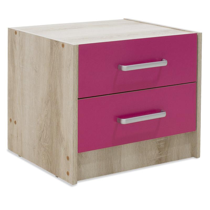 """Κομοδίνο παιδικό """"LOONEY"""" με 2 συρτάρια χρώμα castillo-ροζ 47,5x40,5x40,5"""