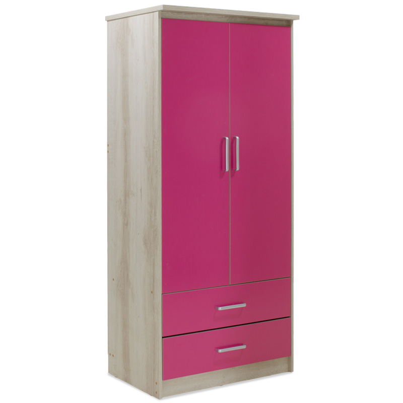 """Ντουλάπα ρούχων παιδική """"LOONEY"""" δίφυλλη σε χρώμα castillo-ροζ 81x57x183"""