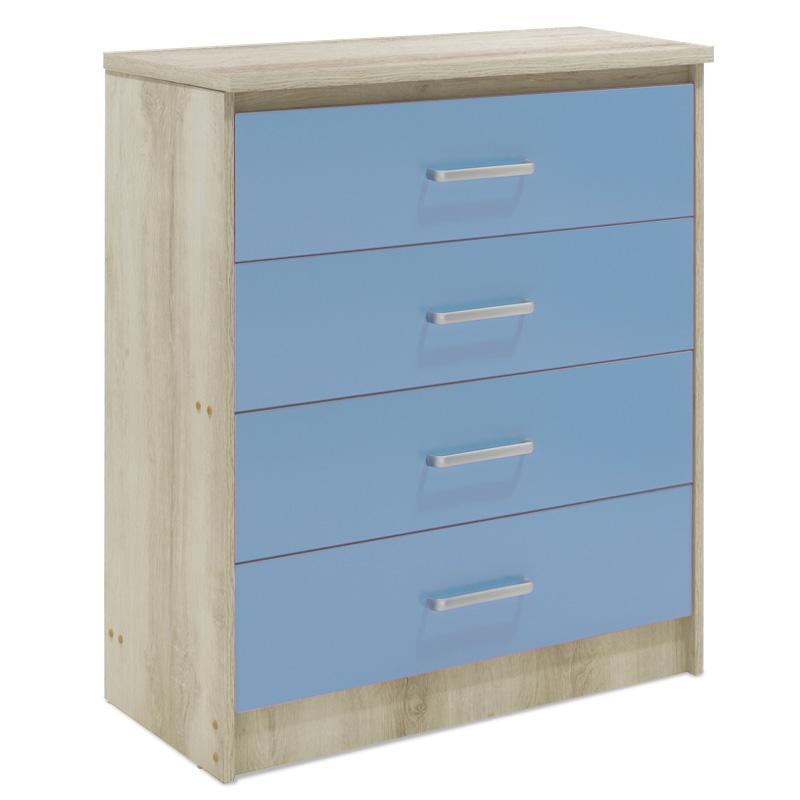 """Συρταριέρα παιδική """"LΟΟΝΕΥ"""" με 4 συρτάρια σε χρώμα castillo-μπλε 80x40x95"""