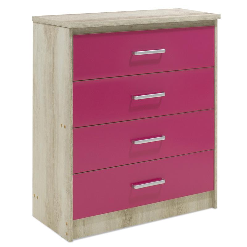 """Συρταριέρα παιδική """"LΟΟΝΕΥ"""" με 4 συρτάρια σε χρώμα castillo-ροζ 80x40x95"""