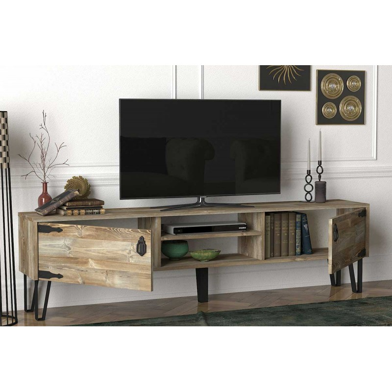 'Επιπλο τηλεόρασης σε χρώμα καρυδί ανοιχτό 180x29,5x49