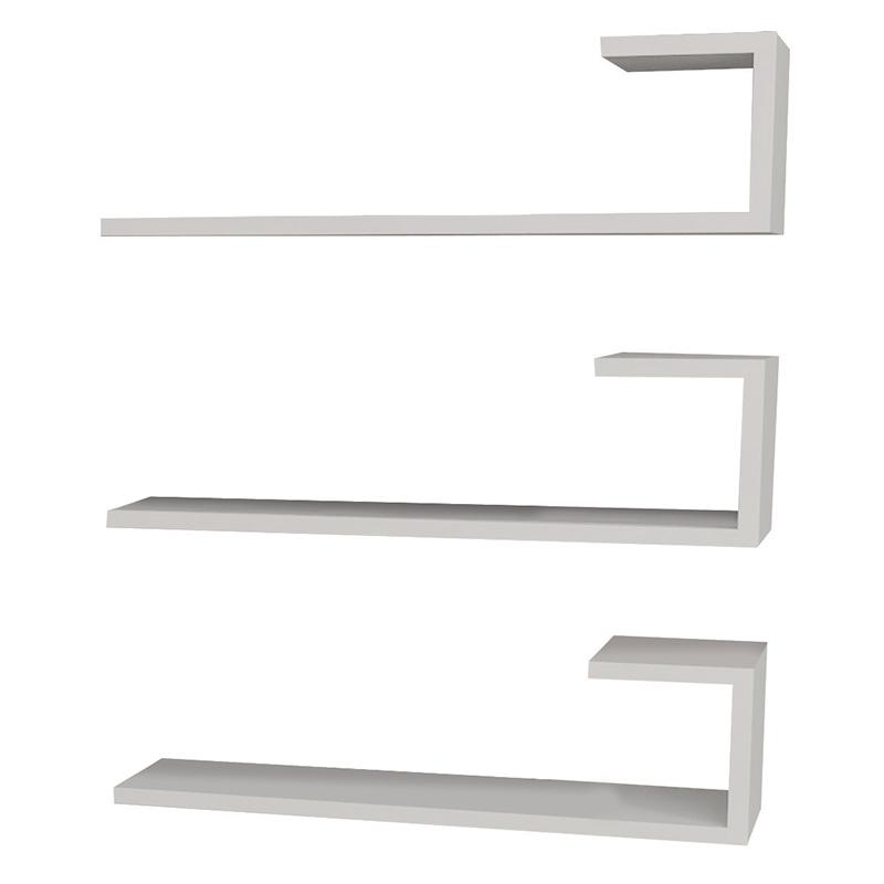 Ραφιέρα τοίχου 3 τμχ σε χρώμα λευκό 60x14,5x18