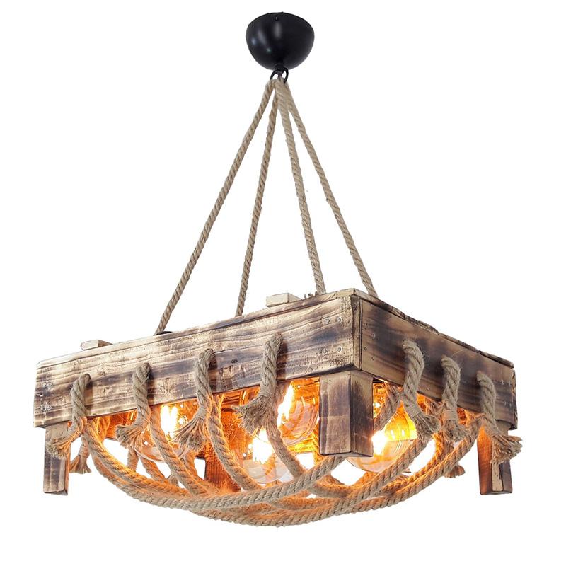 Φωτιστικό οροφής ξύλινο σε χρώμα φυσικό 50x70x37