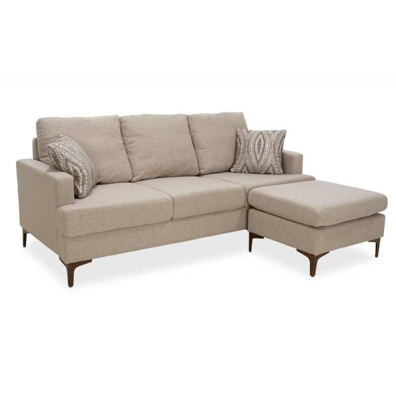 """Γωνιακός καναπές """"SLIM"""" με σκαμπώ υφασμάτινος σε μπεζ χρώμα 185x140x70"""
